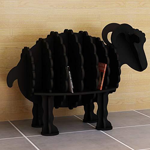 Xin Hai Yuan Estantería Creativa De Oveja, Estantería De Estilo Animal, Tablero De Plástico De Madera Decoración Estante Artesanal Decoración De Aterrizaje Tienda Muebles para Niños,Negro