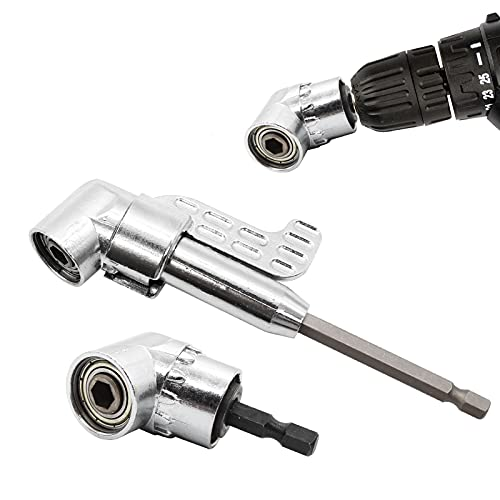 NEWLIUXI 2Pcs 105° 1/4 Inch Right Angle Drill Adapter with Hex Shank Screwdriver Angled Drill Extension Bit Holder for Power Drill Tool, Right Angle Screwdriver Attachment with Magnetic Bit Holder