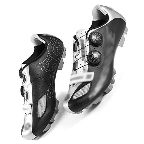 KUXUAN Zapatillas De Ciclismo MTB para Hombre,Zapatillas De Bicicleta De Montaña con Autobloqueo Zapatillas De Ciclismo Antideslizantes Transpirables,Black-41EU