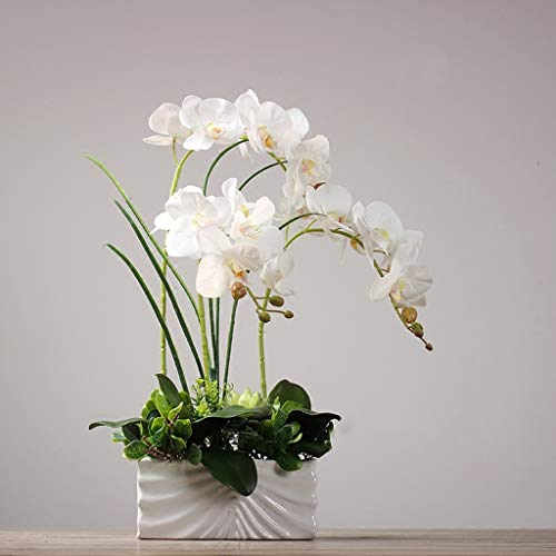 Kunstmatige Orchideeën in Vaas, witte Phalaenopsis Orchid huis Centerpiece Ornament Decor
