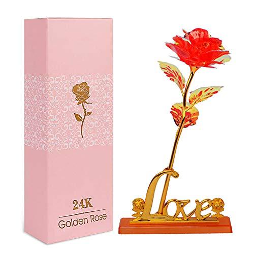 SUNSK Rosa de Oro 24K Rosa Eterna Flores Artificiales con Base Soporte Transparente y Caja de Regalo para el Día de San Valentín,el Día de Madre, Mujer,Novia, Esposa,Aniversario,Cumpleaños Regalo