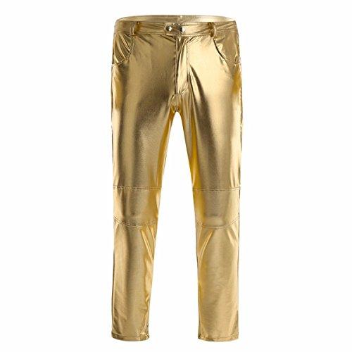 YiZYiF Glänzende Herren Slim Fit Soft PU Faux Leder Biker Hose Trachtenlederhose Trachtenlederhose Lederhosen Gold X-Large