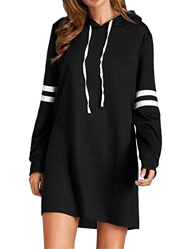 Flying Rabbit Damen Hoodie Damen Langarm Sweatshirt Damen Langarm Hoodies Casual Herbst Kleid (XXL, Schwarz)