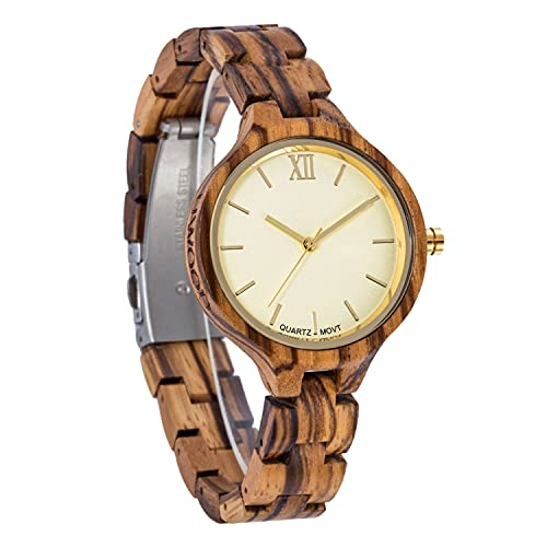 yuyan Reloj de Madera de Las señoras, Reloj de Cuarzo Decorativo de la Moda de la Moda de la Madera, la luz, cómoda, Transpirable, Saludable y respetuosa con el Medio Ambiente