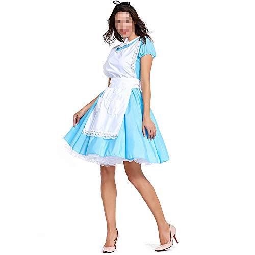 kMOoz Disfraz De Halloween,Disfraz De para Niña Halloween Disfraz Vestido Halloween Cosplay,Alicia En El País De Las Maravillas Disfraz De Sirvienta Azul Blanco Cosplay Animé Disfraz De Sirvienta