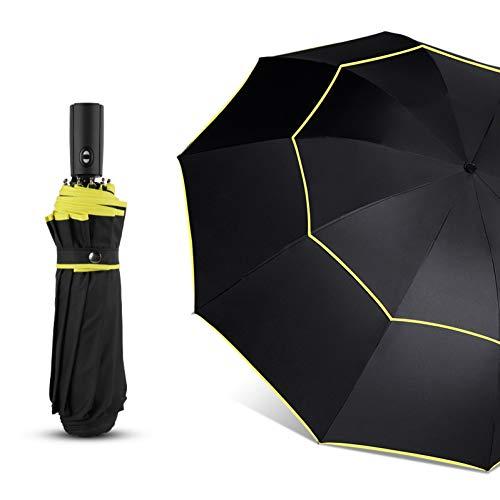 EFKKLM 120Cm Vollautomatischer Regenschirm Herren Regen Damen Doppelschicht 3 Faltbarer Werbegeschenk-Regenschirm Winddichte Sonnenschirme