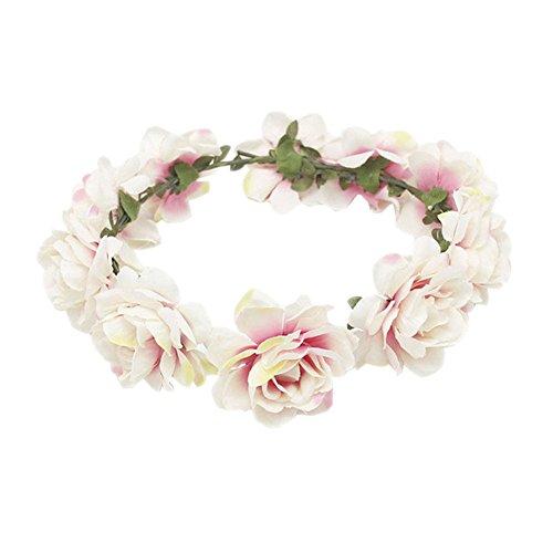 Blue Vesse Mode Frauen Hochzeit Haar Blumengirlande Krönen Stirnband Blumenkranz Haarband (weiß)