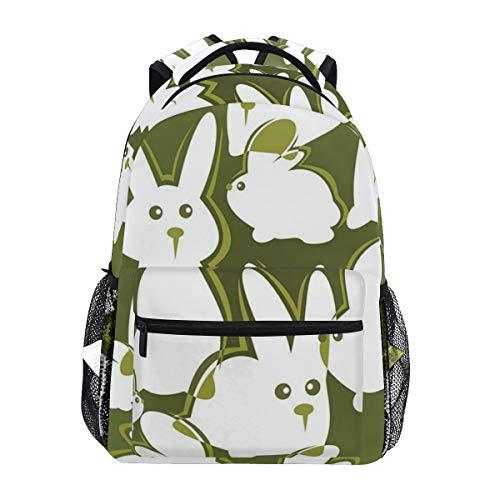 NR nuovo Sacchetti di scuola Satchel zaino,Illustrazione verde dell'animale di Pasqua del contesto verde dei conigli bianchi del fumetto divertente