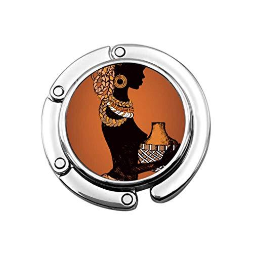 Hand gezeichnete schöne Schwarze Frau afrikanischen Tisch Geldbörse Haken Kleiderbügel Tasche Kleiderbügel Haken für Tisch Einzigartige Designs Faltbereich Lagerung Büro Geldbörse Kleiderbügel