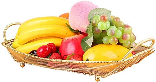 Accessoires voor thuis Schip Fruit Mand met handvat, Gold mesh Fruitschaal Keuken Storage Shelf, 40 * 22.5 * 40cm Large