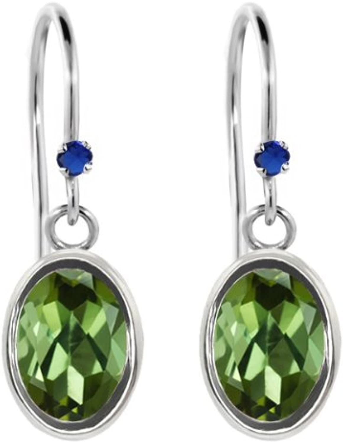 1.72 Ct Oval Green Tourmaline bluee Simulated Sapphire 925 Sterling Silver Earrings