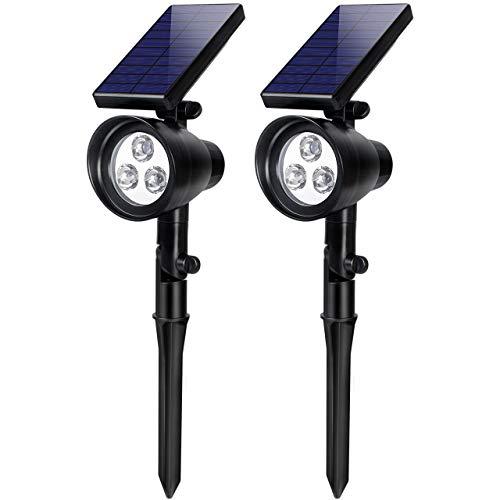 InnoGear Solar Lights, 2-in-1 Waterproof 3 LED Solar Spotlights Adjustable Wall Light Landscape Lighting Security Light Outdoor Auto On/Off for Patio Deck Yard Garden Driveway, Pack of 2