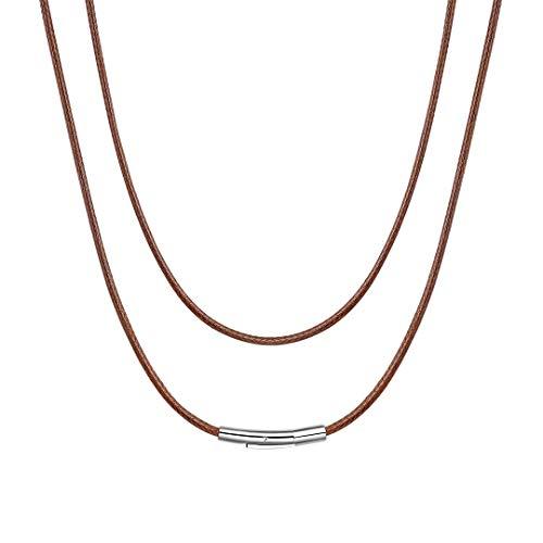 ChainsHouse Collier Cordon ciré 2mm Corde Lien chaîne Cuir véritable Marron Fermoir Solide en Acier Inoxydable...