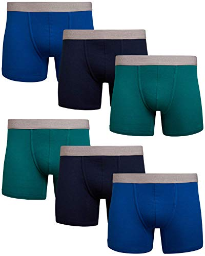 Lucky Brand Men's Super Soft Boxer Briefs (6 Pack), Size X-Large, Navy/Royal/Green
