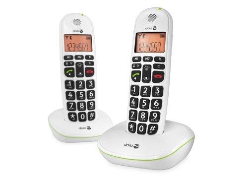 Doro PhoneEasy 100w duo - Teléfono fijo digital (inalámbrico), color blanco