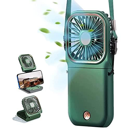 BNMY Mini Ventilador USB Mini Fan Portátil 3000Mah Tercer Ajuste De Marcha Ventilador De Cuello Colgante Portátil 180 ° Se Puede Plegar,Verde