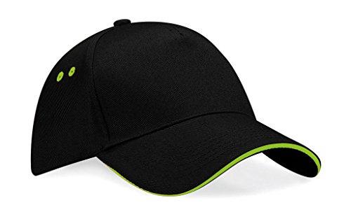 Beechfield B015 Ultimate Cap / Schirmmütze, 5Panels, Unisex, für Erwachsene, B15c, Schwarz/Limettengrün, Einheitsgröße