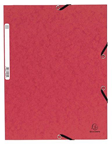Exacompta - 55305e - Chemise à 3 rabats avec élastique - 4,5/10ème étiquette au dos - Lot de 10 - Rouge - Carte lustrée