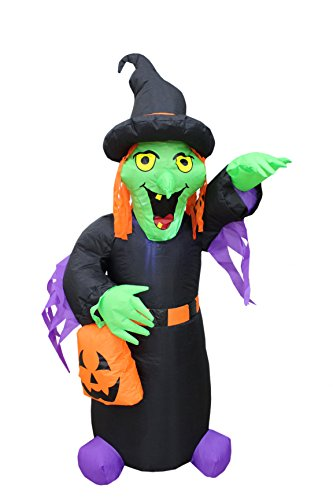 Halloween Inflatable Green Face Witch with Pumpkin Bag