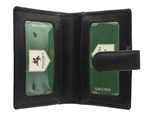 Visconti Leather Credit Card Holder with Tab Closure 484 Black