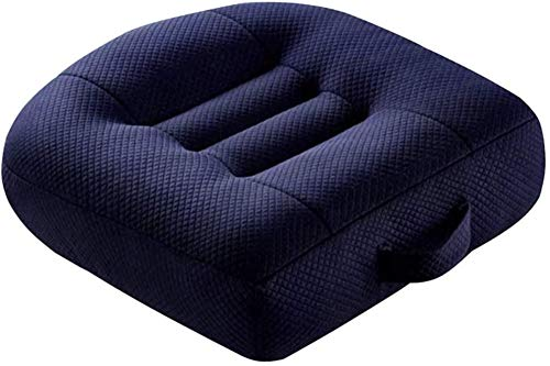 WSGJHB Car Booster Seat Cushion Heightening Height Boost Mat, Breathable Mesh Portable Car Seat Pad Angle Lift Seat Cushions Ideal for Car Office,Home, Used All The Year,Navy,40x40x12cm