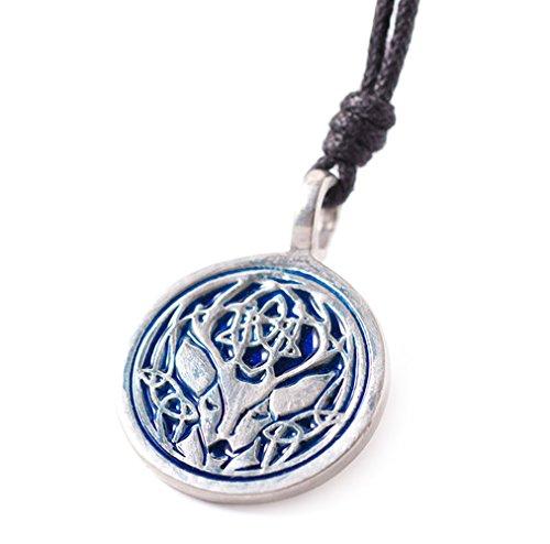 Vietguild Blue Celtic Deer Silver Pewter Charm Necklace Pendant Jewelry