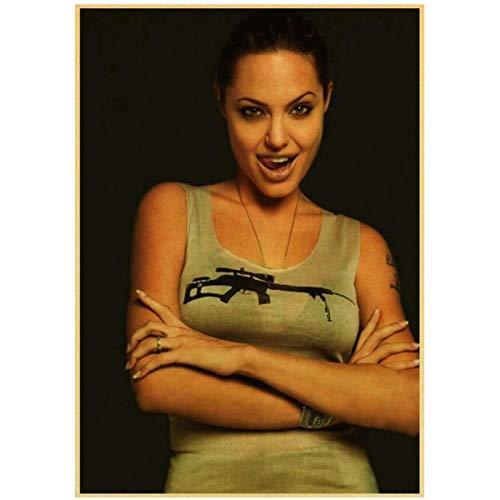 Prettygirl Angelina Jolie venenoso Lara CRO Tomb Raider Vintage Lienzo Pared Arte Pintura Cartel e Impresiones para Sala de Estar decoración del hogar -50x75 cm sin Marco