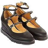 Zapato con Plataforma Flatform ARGENTINA | Sandalias Abotinadas con Plataforma Mujer Piel Negra | Correas y Hebillas y Terminados en Punta | Suela Dentada Goma | Forro Piel Natural | Talla 39