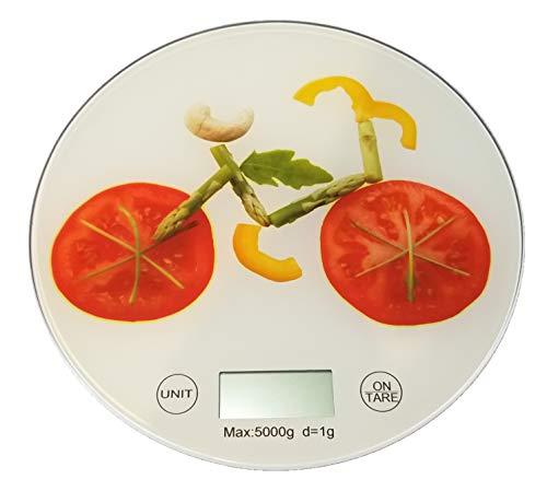 Sam for You Runde Küchenwaage, Digitale Küchenwaage, präzise wiegen bis 5 kg, Lebensmittelwaage, Lebensmittelskala, Tara Funktion, Inkl Batterie (Gemüse)