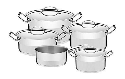 Tramontina 65620106 Professional - Batería de cocina (5 piezas, acero inoxidable, 4 cacerolas y 1 cazo para todo tipo de fuegos, acero 18/10)