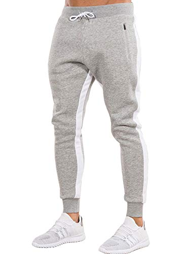 Ouber Men's Gym Jogger Pants Slim Fit Workout Running Sweatpants with Zipper Pockets (XL,Grey)