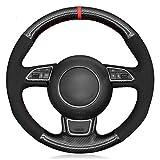 BTOEFE Cubierta del Volante del Coche Ante de Fibra de Carbono Negra, para Audi A1 A3 A4 2015-2016 A7 2012-2018 S7 2013-2018 RS7 2014-2015-Hilo Azul