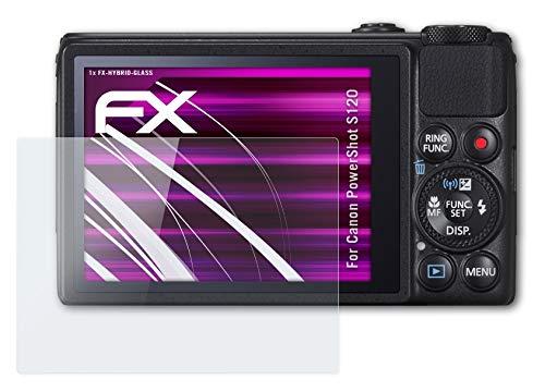atFoliX Glasfolie kompatibel mit Canon PowerShot S120 Panzerfolie, 9H Hybrid-Glass FX Schutzpanzer Folie
