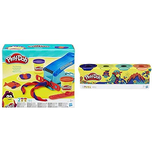 Play-Doh B5554 Knetwerkpresse Toys inkl. 2 Dosen Knete & 4er Pack WILD, Knete für fantasievolles und kreatives Spielen