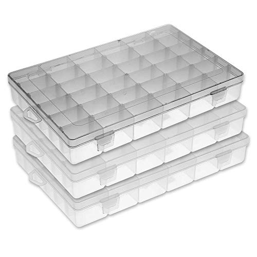 FSC Lighting Organizer containers Plastic Jewelry Box Storage containers Beads Box Fishing Tackle Storage Boxes Plastic Container with dividers 36grids /3pack ¡