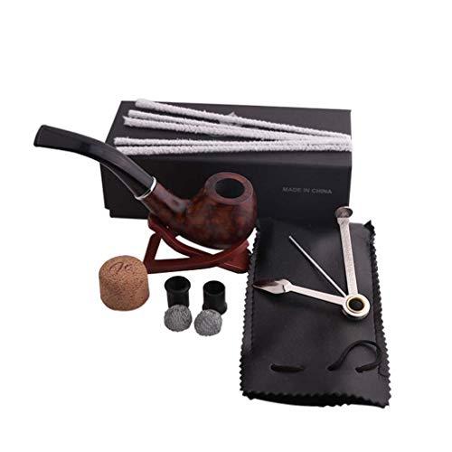 YDYG Tabakpfeife, Holz Rohr und Rohrreiniger, 3-in-1 Rohrschaber, Rohr Bohrmeißel, Metallkugel, Kork Türklopfer, Geschenkrohr Tasche und Geschenkkarton