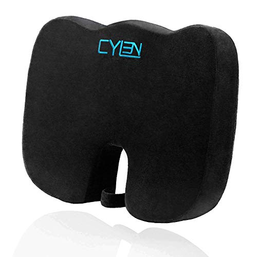 CYLEN Home-Memory Foam Bamboo Charcoal Infused Ventilated Orthopedic Seat Cushion for Car and...