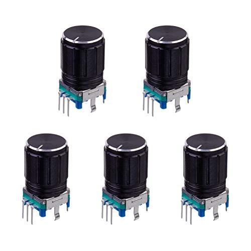 BOJACK EC11 Potenciómetro digital de audio de 360 grados, 5 pines, codificador giratorio, interruptor de código, potenciómetro con tapa de perilla (paquete de 5 piezas)