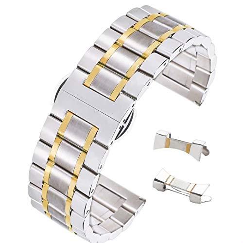 22 mm de Acero Inoxidable sólido Universal de Dos Tonos Correa de Banda de Reloj Inteligente 304 en la Plata y el Oro Extremo Curvo