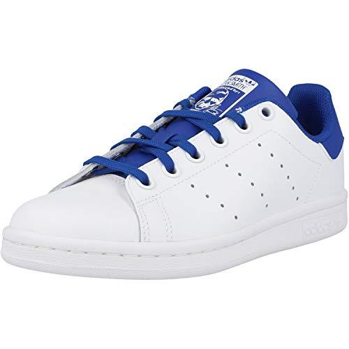 adidas Originals Stan Smith J Blanco/Azul (White/Royal Blue) Cuero 38⅔ EU