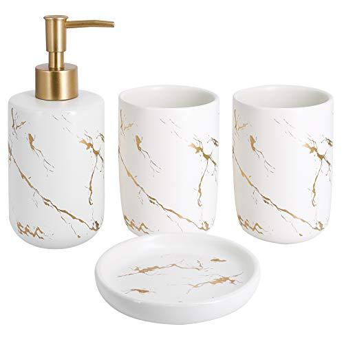 Top-Spring Lot de 4 accessoires de salle de bain en céramique avec distributeur de savon, gobelets, porte-savon (blanc)