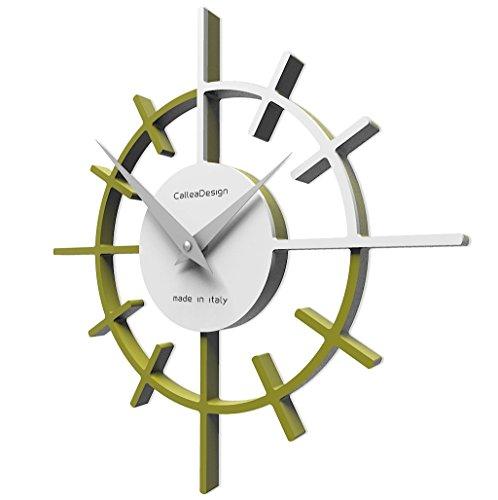 CalleaDesign 39 cm Olivgrüne Fadenkreuz-Wanduhr