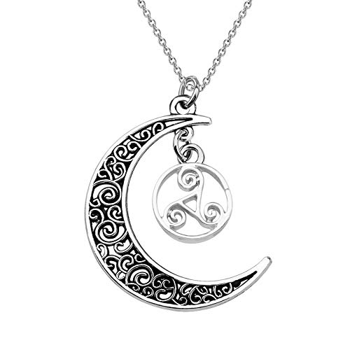 SEIRAA Teen Wolf Necklace Wolf Triskele Necklace Celtic Triple Spiral Triskelion Swirl Jewelry (Wolf Necklace)