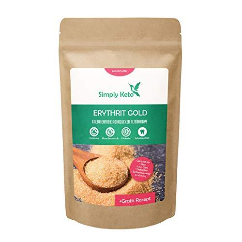 Simply Keto | Erythrit Gold 400g | Zuckerersatz mit Karamellnote ohne Kalorien | 70% der Süßkraft von Zucker
