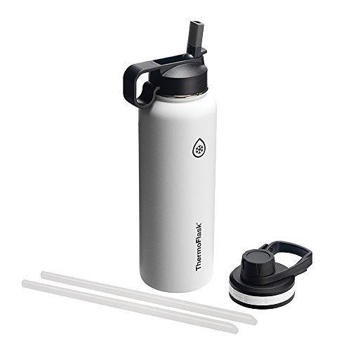 Thermoflask Bottle with Chug and Straw Lid, 40oz, White