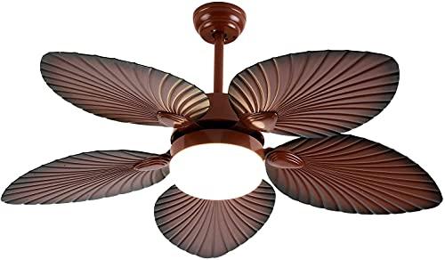 Beeki Ventilador de techo para el hogar con ventilador de techo tropical de brisa ligera con luz LED Lámpara de araña Control remoto Aceite de madera Cepillado Hoja de palma de bronce para Patio Porch