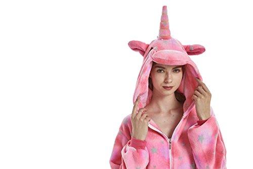 Yuson Mädchen Winter Flanell Einhorn Onesie Pyjamas Erwachsene Unisex Einteiler Cartoon Tier Kostüm Neuheit Weihnachten Cosplay Pyjamas (Rosa Einhorn) - 4
