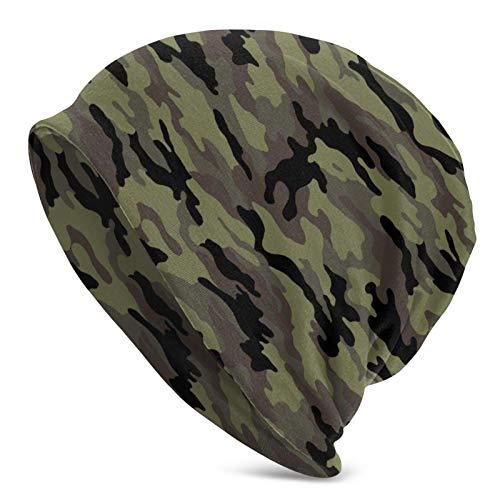 Aniaml Camuflaje Verde Sombrero de Punto para Adultos Slouchy Soft Beanie Hat Skully Cap Half Balaclava Hedging Caps