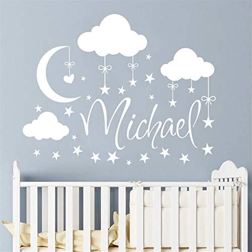 Adesivi personalizzati con Decalcomanie da Muro nuvole Stelle Luna adesivi murali per camerette Nome personalizzato Adesivo da parete per Camera Bambini # 58 X 74 cm