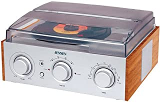 JENSEN JTA-220 3-Speed Turntable with AM/FM Receiver & Stereo Speakers